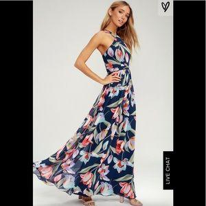 NWT Lulus Lilja Navy Blue Floral Print Maxi Dress